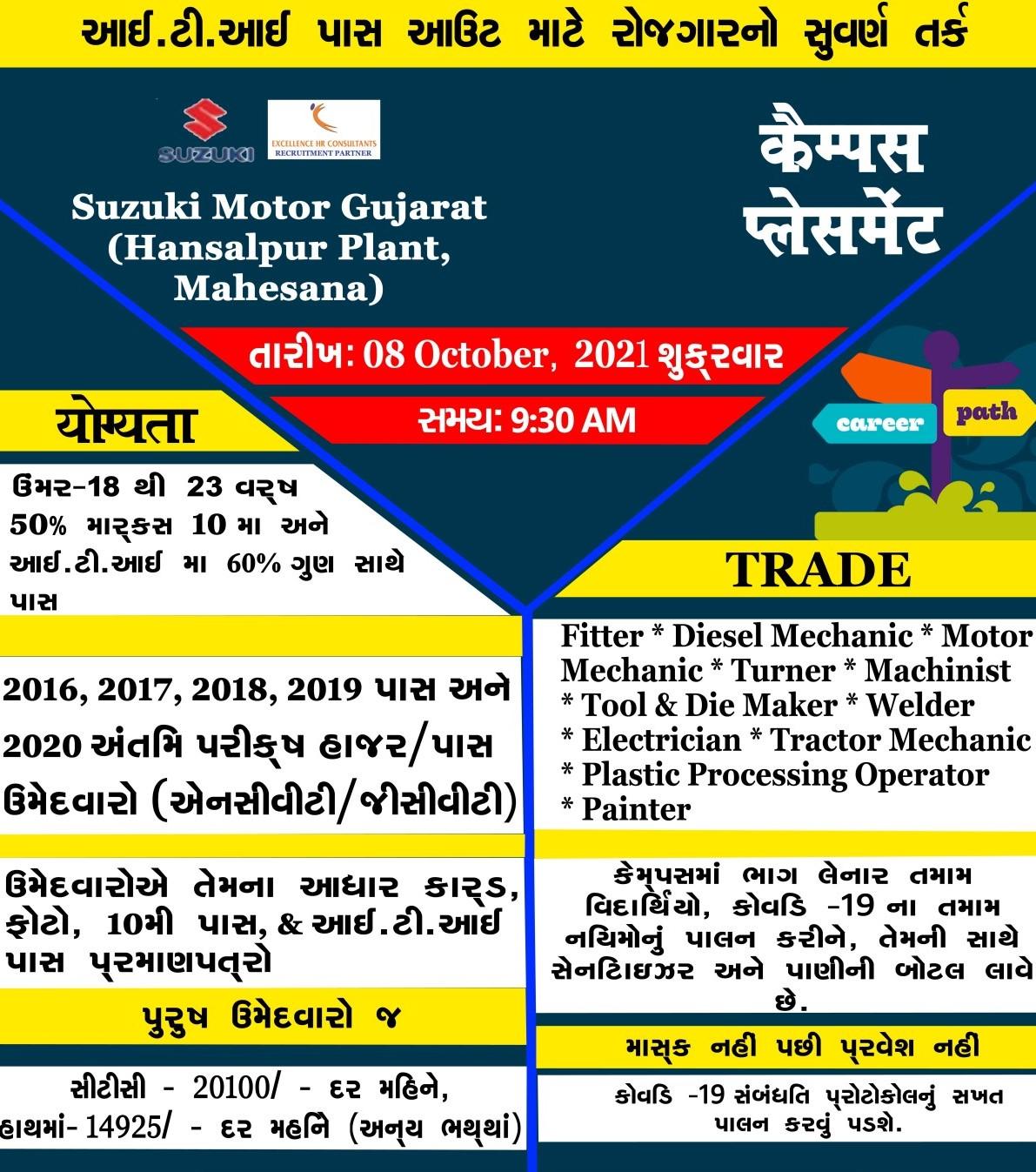 Suzuki Motors Cars Manufacturing Plant Recruitment ITI Campus Drive at Govt ITI Vadnagar, Mahesana, Gujarat