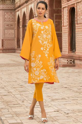 warda winter collection embroidered khaddar yellow colour suit