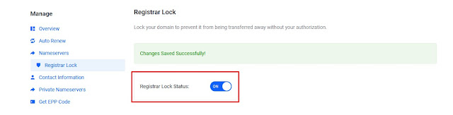 Turn On Registrar Lock