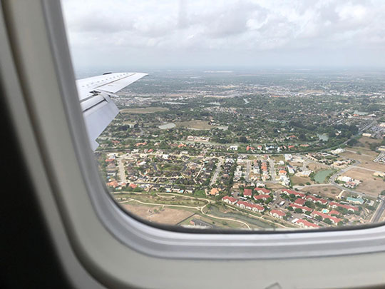 View out the airplane window as we approach Brownsville, TX (Source: Palmia Observatory)