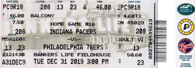 Indiana Pacers ticket from the 2019/20 season
