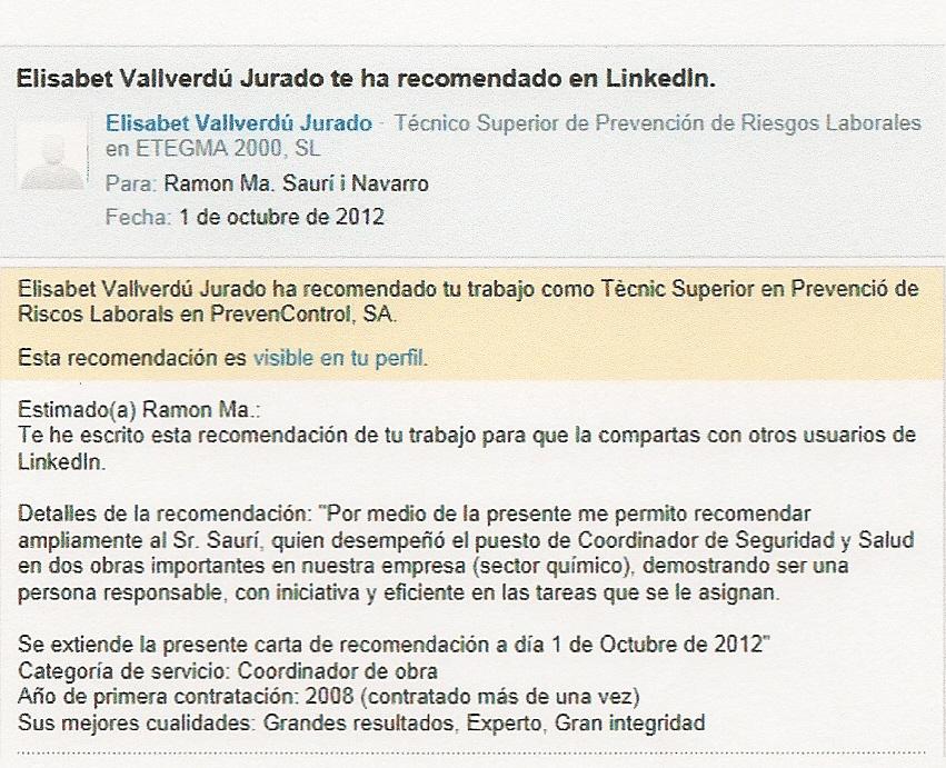 Ramon Ma Saurí i Navarro \u2013 Recomendaciones Profesionales 2012