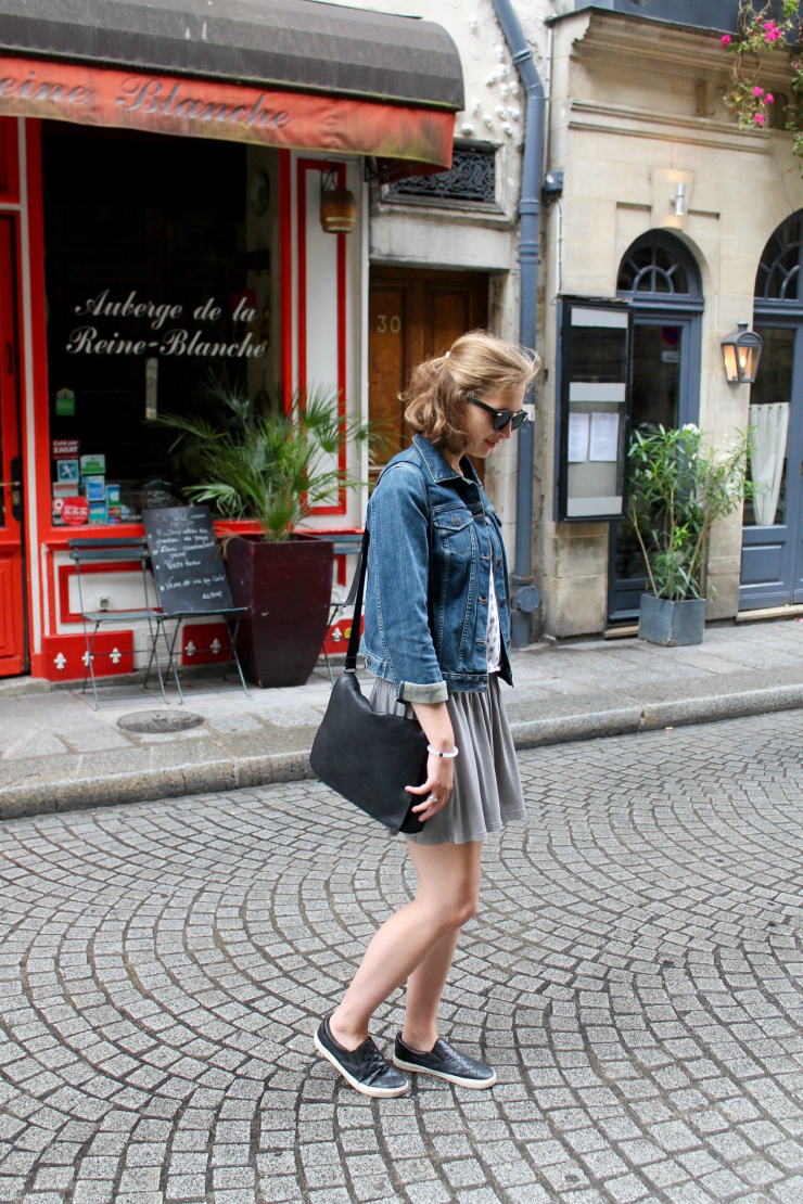 denim jacket and skirt