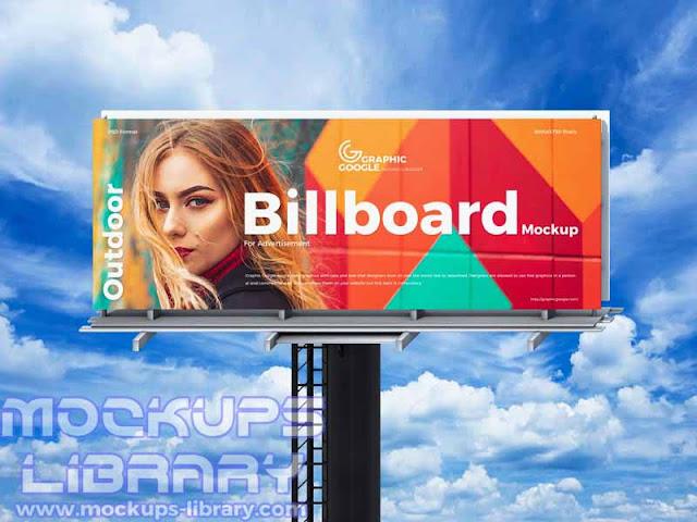 free sky outdoor billboard mockup