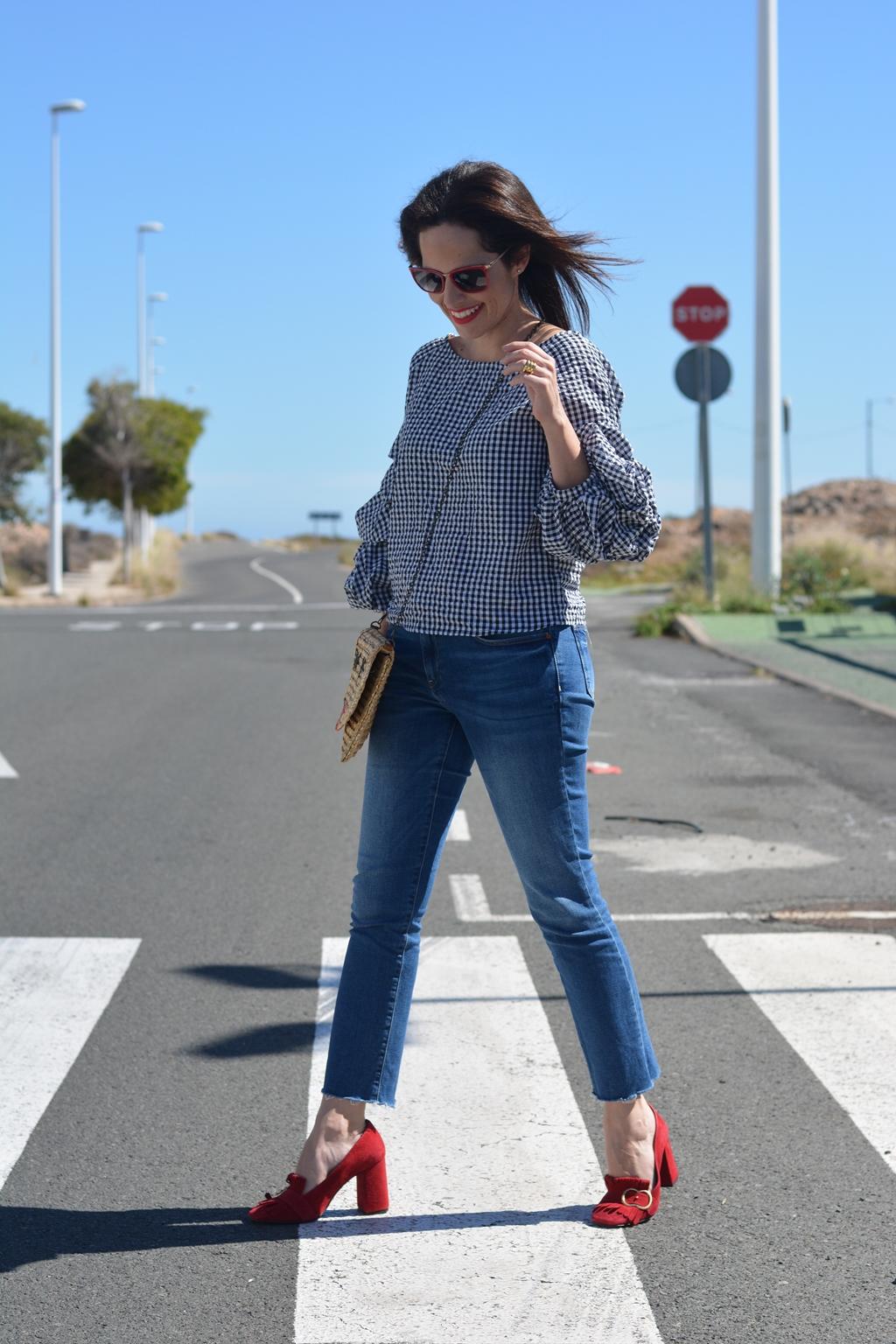 look-jeans-rojo-vichy-street-style