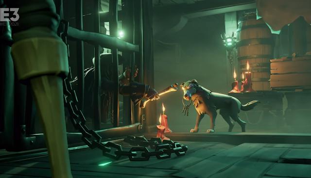 Captain Jack Sparrow Sea of Thieves jail cell dog bone Xbox E3 2021