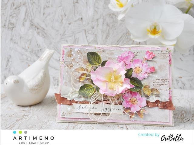 kartka z kwiatem z foamiranu
