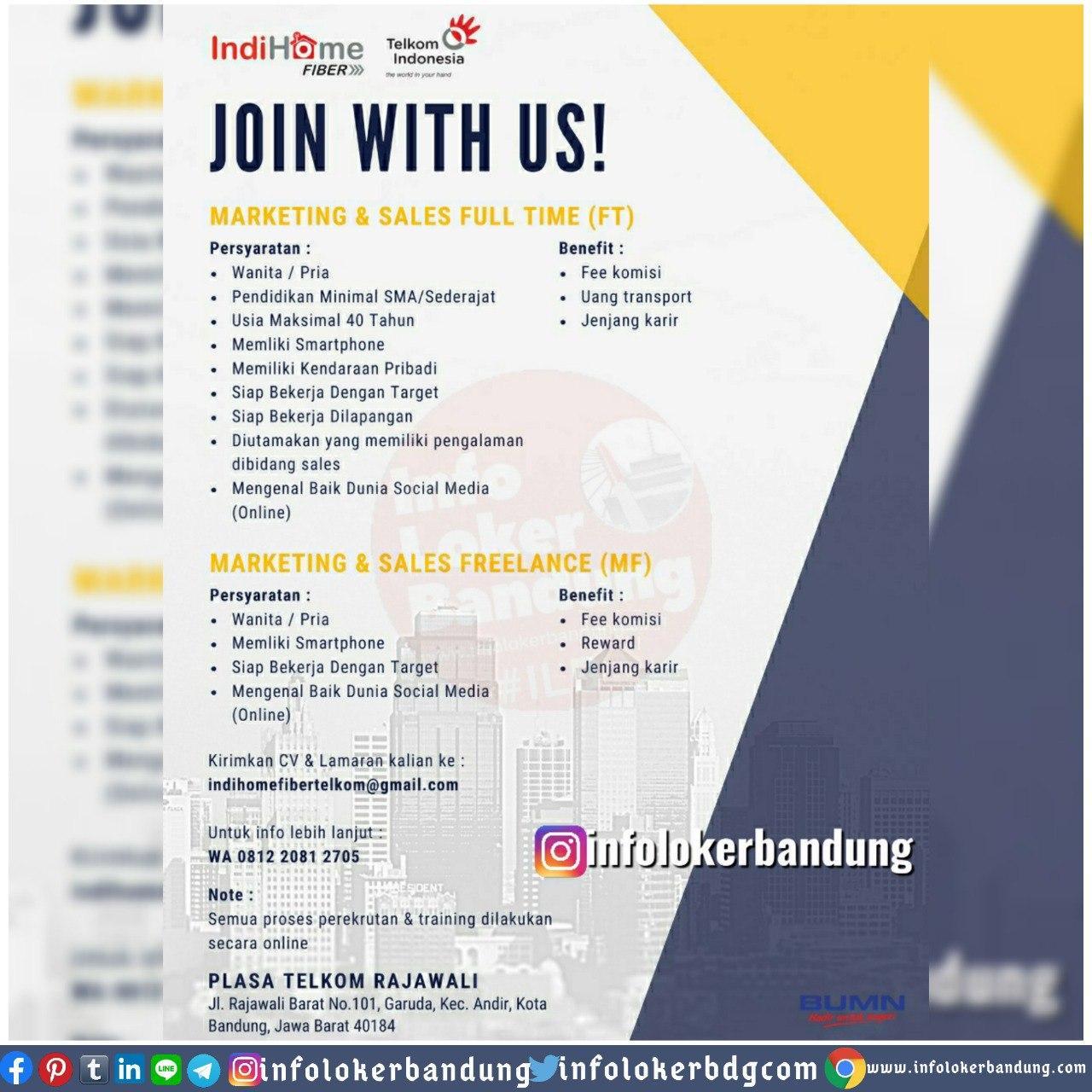 Lowongan Kerja Full Time & Freelance Indohome Plasa Telkom Rajawali Bandung Juni 2020