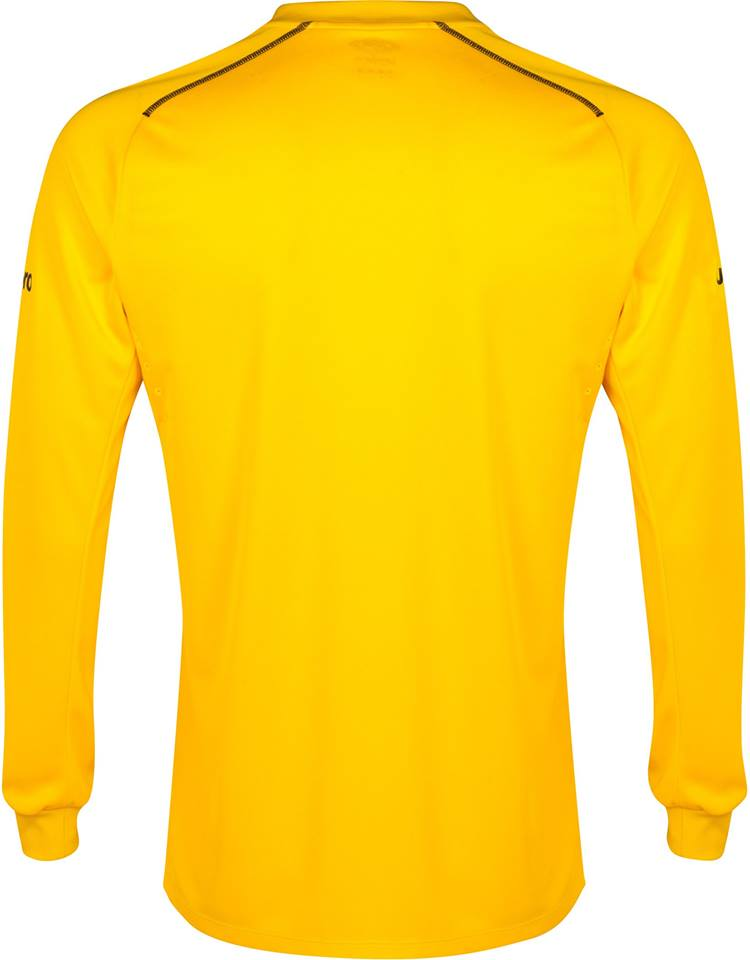 68ce8a50cb4 The all-yellow Everton 2014-2015 Goalkeeper Home Kit features a diagonal  design created with two tones of yellow, while the Umbro logo and the Chang  logo ...