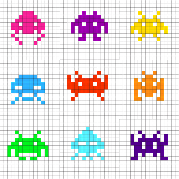 Graph paper printed with colourful pixelated Space Invaders aliens