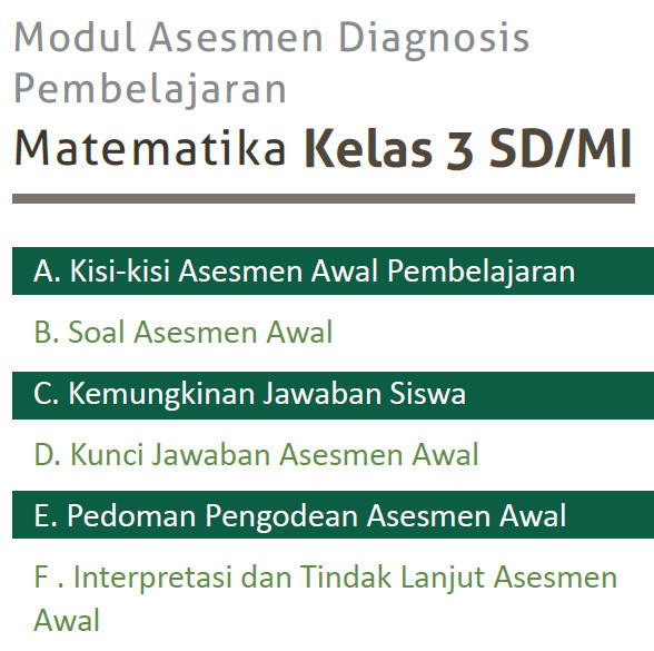 Modul Asesmen Diagnosis Awal Pelajaran Matematika SD/MI Kelas 3