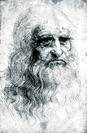 Autorretrato de Leonardo da Vinci, dibujo de tiza, 1512