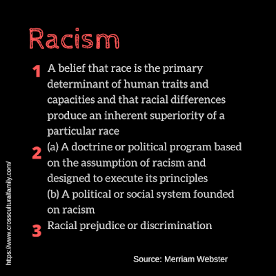 "Merriam Webster definition of ""racism"": 1. A belief that race is the primary determinant of human traits and capacities and that racial differences produce an inherent superiority of a particular race; 2a. A doctrine or political program based on the assumption of racism and designed to execute its principles; 2b. A political or social system founded on racism; 3. Racial prejudice or discrimination"