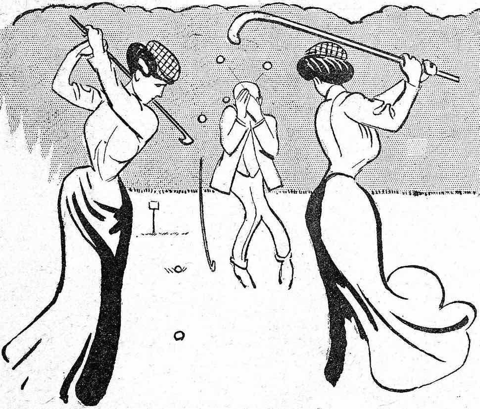 a 1905 vintage golf cartoon showing woman swinging balls at a cowering man