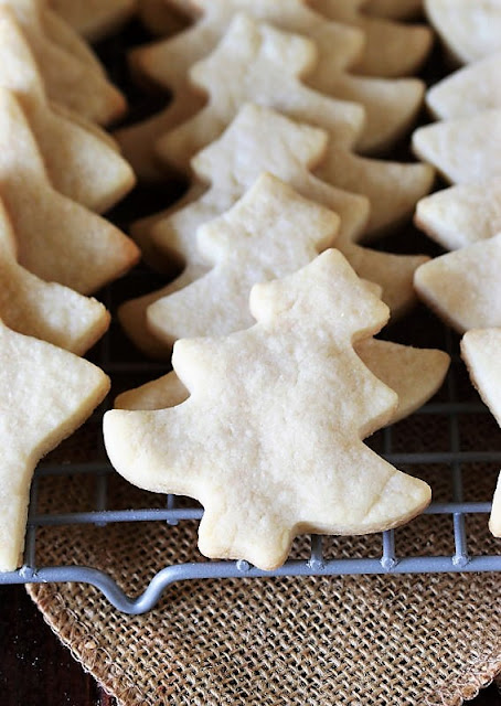 Christmas Tree Shaped Basic Rolled Butter Cookies on Cooling Rack Image