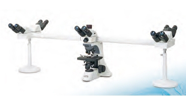 Dual head multi-viewer teaching microscope.