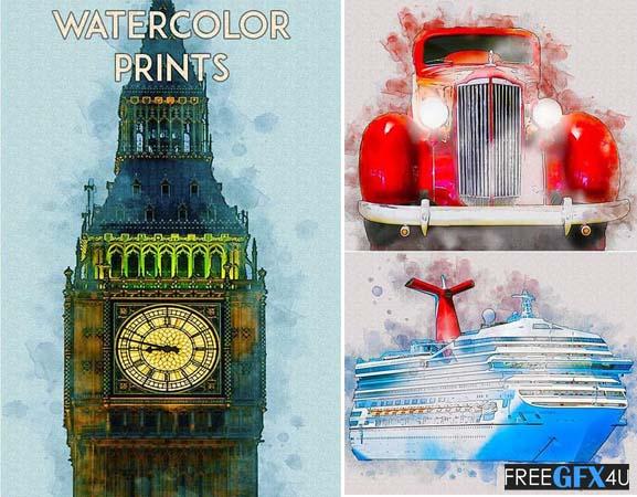 Watercolor Prints Photoshop Action