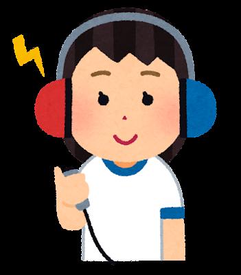 聴力検査のイラスト(学校の健康診断・女の子)