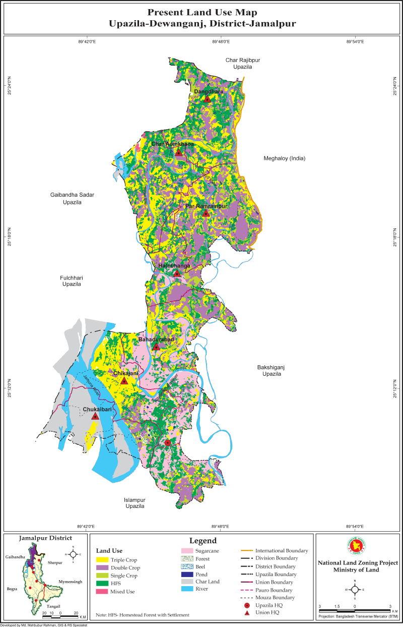 Dewanganj Upazila Mouza Map Jamalpur District Bangladesh