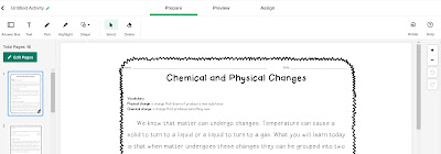 Chemical and physical changes activity using the TpT Digital tool for PDFs
