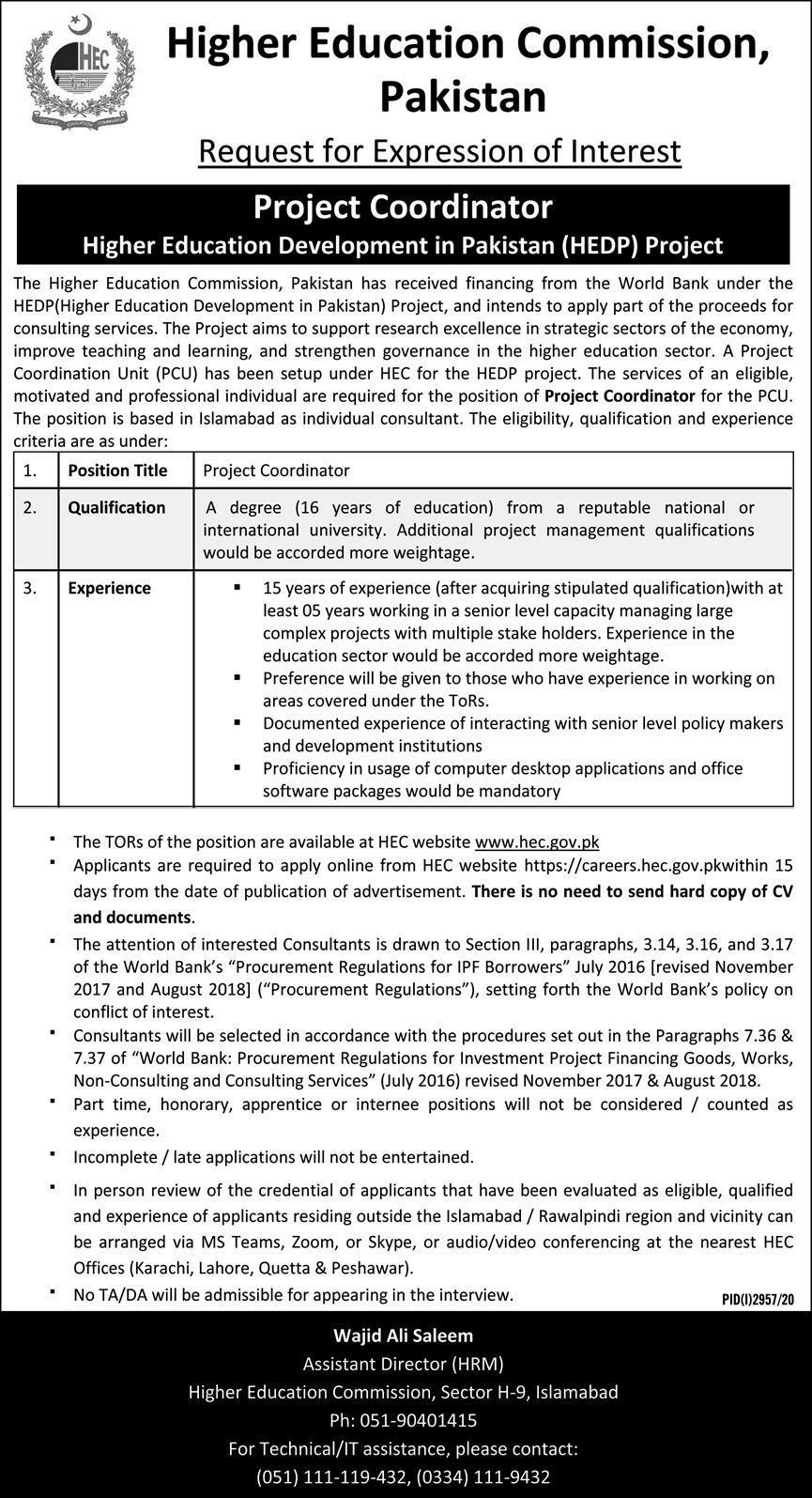 HEC Pakistan HEC Website Jobs HEC Portal Latest Jobs in Pakistan - Online Apply - careers.hec.gov.pk New Jobs 2021