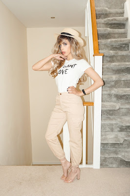 The Femme Luxe White Yves Saint Love Graphic Print Slogan Tee in model Karla.