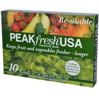 """أكياس حفظ الفواكة والخضروات لفترة طويلة  PEAKfresh USA, Produce Bags, Reusable, 10 - 12"""" x 16"""" Bags, with Twist Ties"""