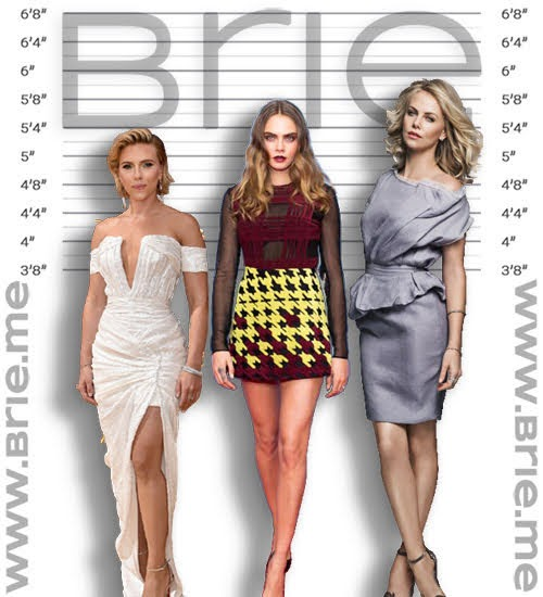 Scarlett Johansson, Cara Delevingne, and Charlize Theron height comparison