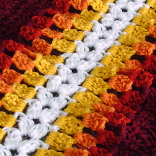 Close-up of Super Mario Bros. fire flower mile-a-minute crochet afghan