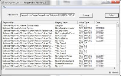 Leggere le policy di registro configurate nel sistema con RegistryPol viewer