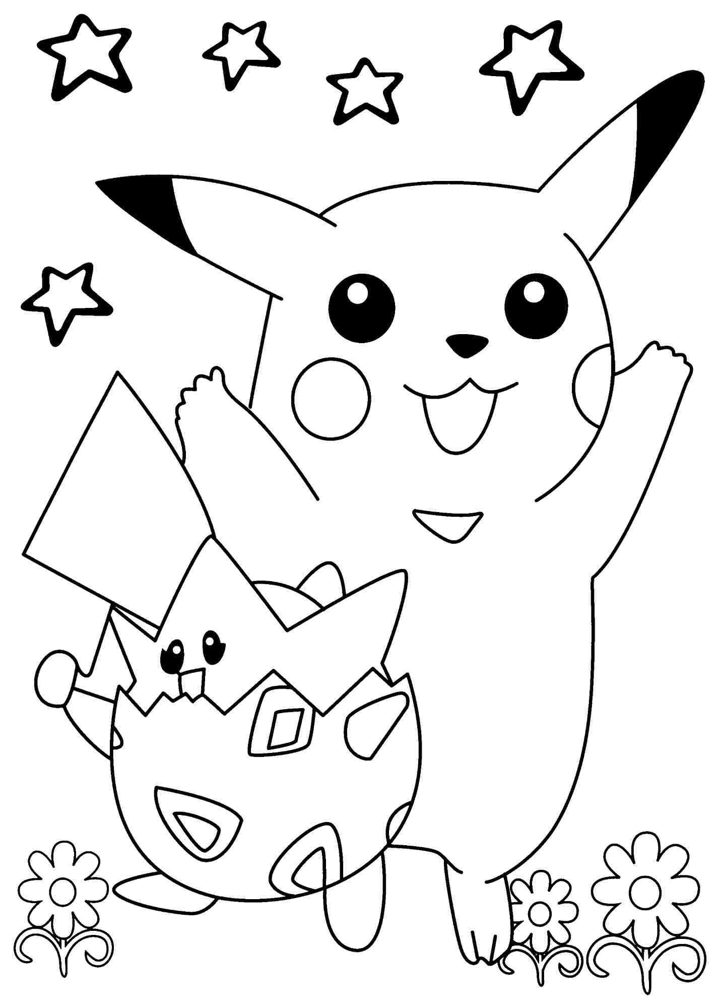 Tranh Tô Màu Đẹp Cho Bé: Tranh Tô Màu Pokemon Dễ Thương - P3