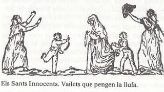Grabado en que los niños cuelgan monigotes a la gente