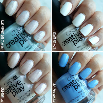 CND Creative play, isle never let you go, i blanked out, bridechilla, iris you would, polish my act, bronzestellation, i like to mauve it, hottie tomattie. nail polish, nail polish swatch, canadian blogger,