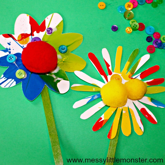 Rainbow spin art flowers. An easy Spring or Summer craft for kids. Toddlers and preschoolers will love this fun painting art idea.