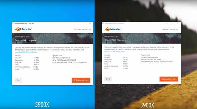 AMD RYZEN 9 5900X TEST vs 3900X Blender