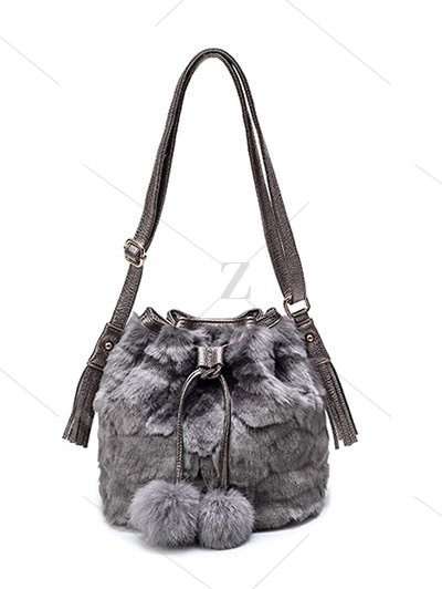 Pompon Tassel Furry Bucket Bag