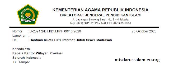 SE Bantuan Kuota Data Internet Untuk Siswa Madrasah