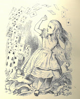 An image of Alice being attacked by a deck of cards