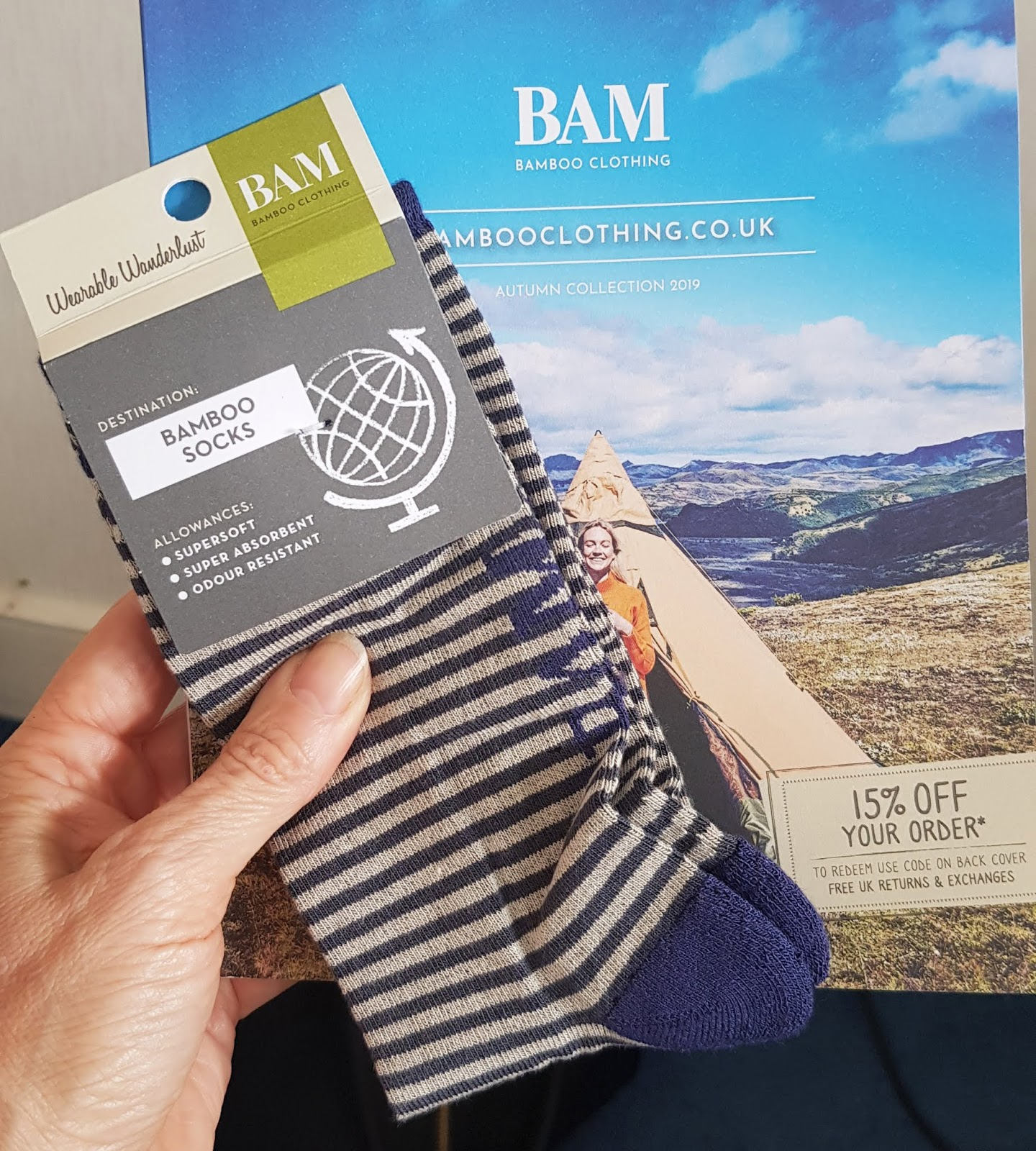 Free socks sent out by bamboo clothing firm BAM in the UK.