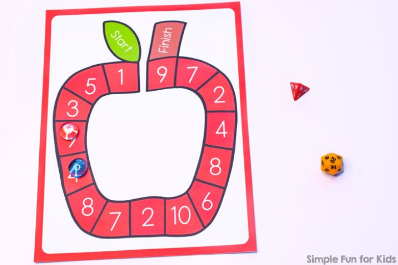 printable games for kids - apple addition and subtraction game