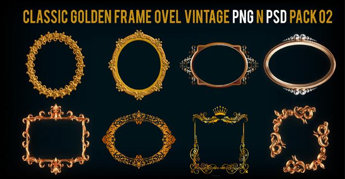 Classic Golden Frame Ovel Vintage PNG n PSD Pack 02