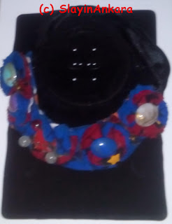 Flower pattern (Rosette) ankara neck piece, made more beautiful with colorful  beads