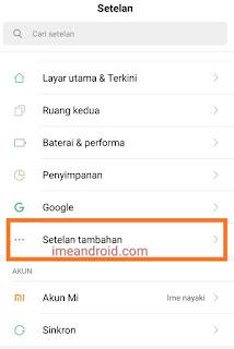 Lock kartu SIM Xiaomi - setelan tambahan