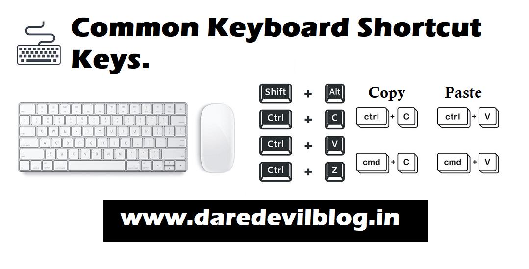 Common Keyboard shortcuts keys.