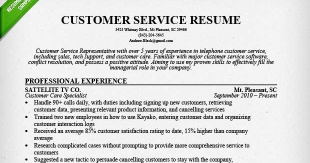 examples of resumes for customer service