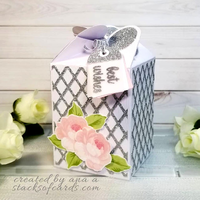 Sunny Studio Stamps: Everything's Rosy Rose Wrap Around Gift Box by Ana Anderson (using Frilly Frames Lattice Dies)