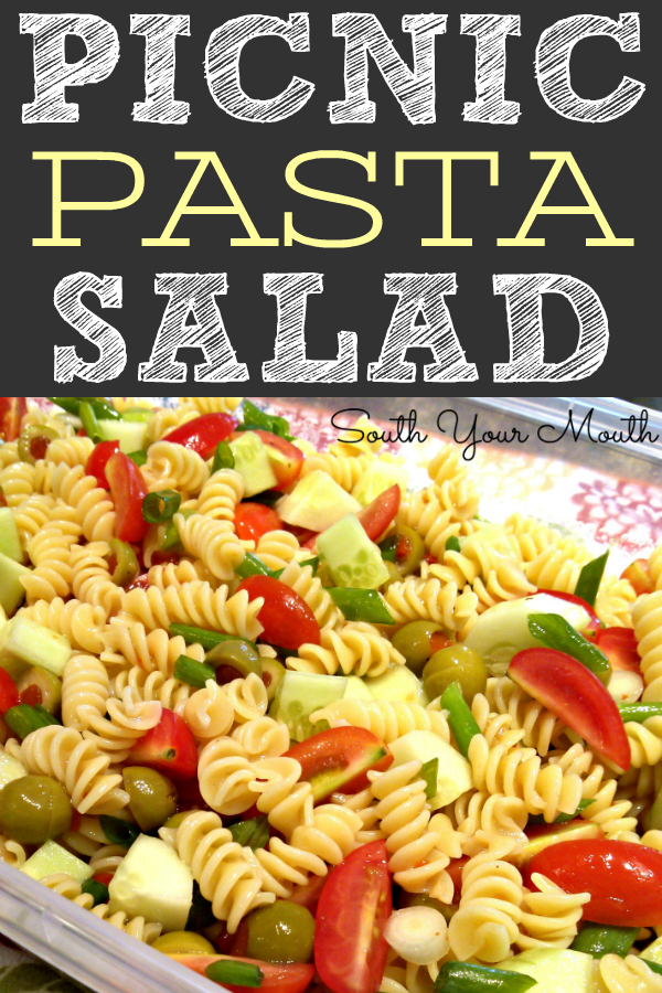 A classic pasta salad recipe made with Italian dressing, cucumbers and tomatoes perfect for cookouts, barbeques and picnics!