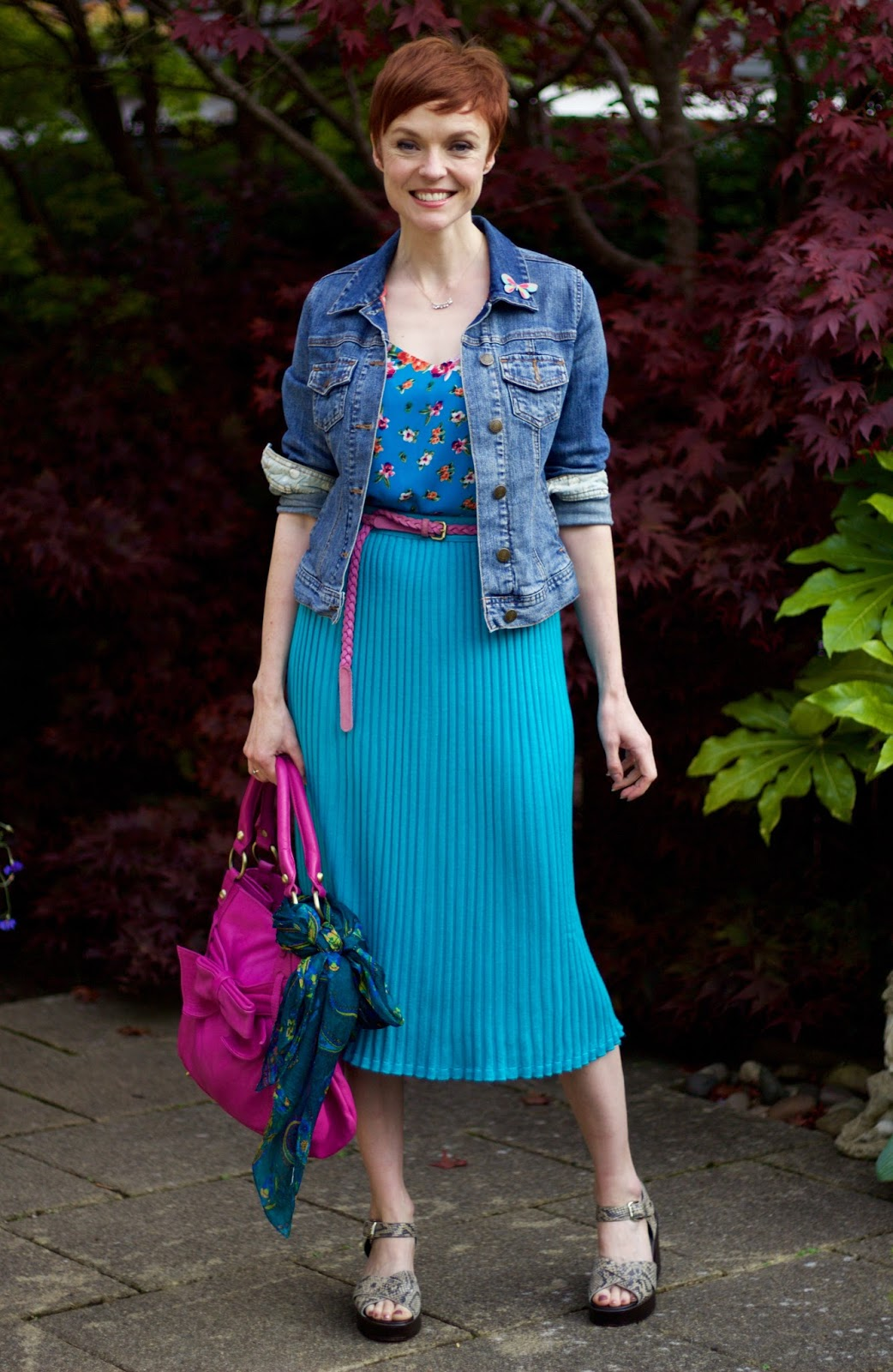 Turquoise Vintage Pleated Midi Skirt, Magenta Bag & Denim | Fake Fabulous