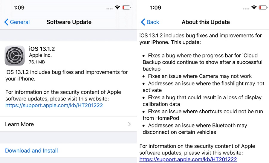iOS 13.1.2 Features