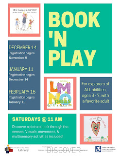 Book 'N Play flyer with Book 'N Play in large green box and covers of three books: We're Going on a Bear Hunt, LMNO Peas, and In My Heart